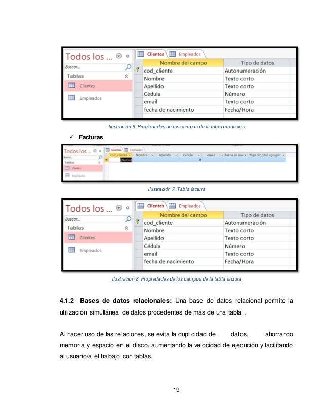 19 Ilustración 6. Propiedades de los campos de la tabla productos  Facturas Ilustración 7. Tabla factura Ilustración 8. P...