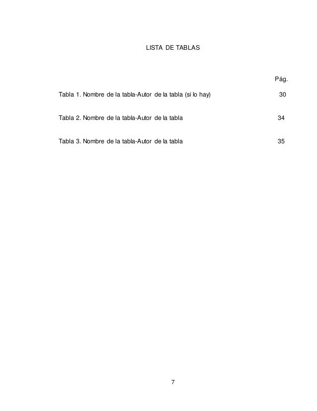 7 LISTA DE TABLAS Pág. Tabla 1. Nombre de la tabla-Autor de la tabla (si lo hay) 30 Tabla 2. Nombre de la tabla-Autor de l...