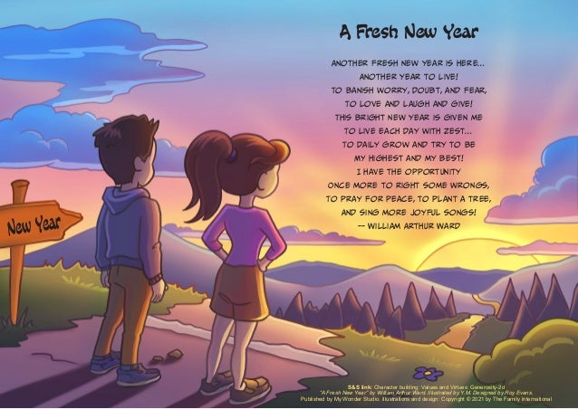 """S&S link: Character building: Values and Virtues: Generosity-2d """"A Fresh New Year"""" by William Arthur Ward. Illustrated by ..."""