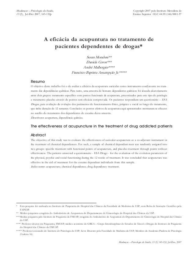 Mudanças – Psicologia da Saúde, 15 (2) 145-152, Jul-Dez, 2007 A ACUPUNTURA NO TRATAMENTO DA DEPENDÊNCIA DE DROGAS 145Copyr...