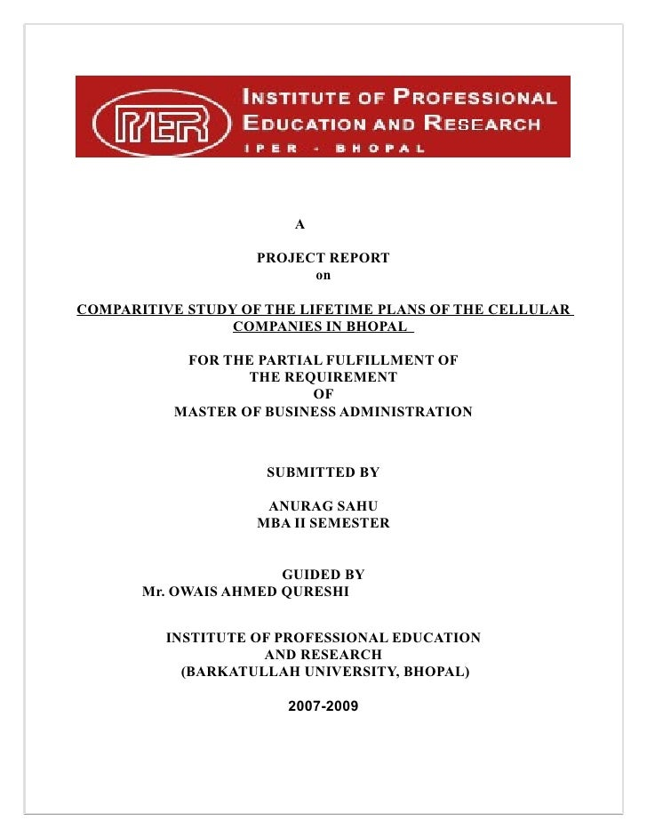 A                    PROJECT REPORT                          onCOMPARITIVE STUDY OF THE LIFETIME PLANS OF THE CELLULAR    ...