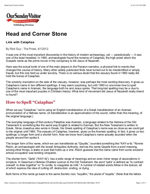 3/11/12 9:59 AMHead and Corner Stone Page 1 of 4http://www.osv.com/DesktopModules/EngagePublish/printerfriendly.aspx?itemI...