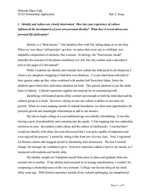 tcnj scholarship main essay deborah marie fade tcnj scholarship application part 3 essay page 1 of 3 1