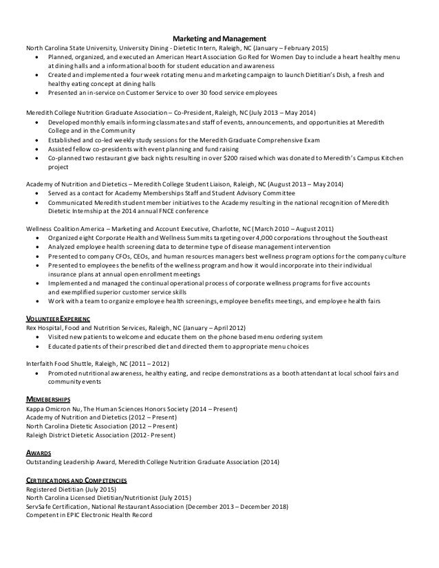 dietetic intern resume resume ideas