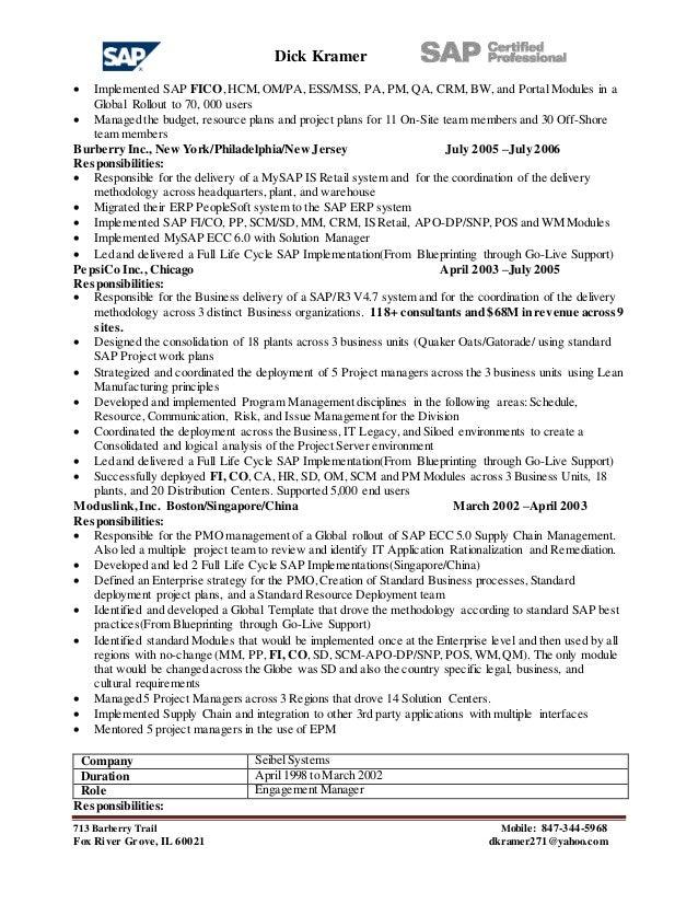dick kramer 2016 resume