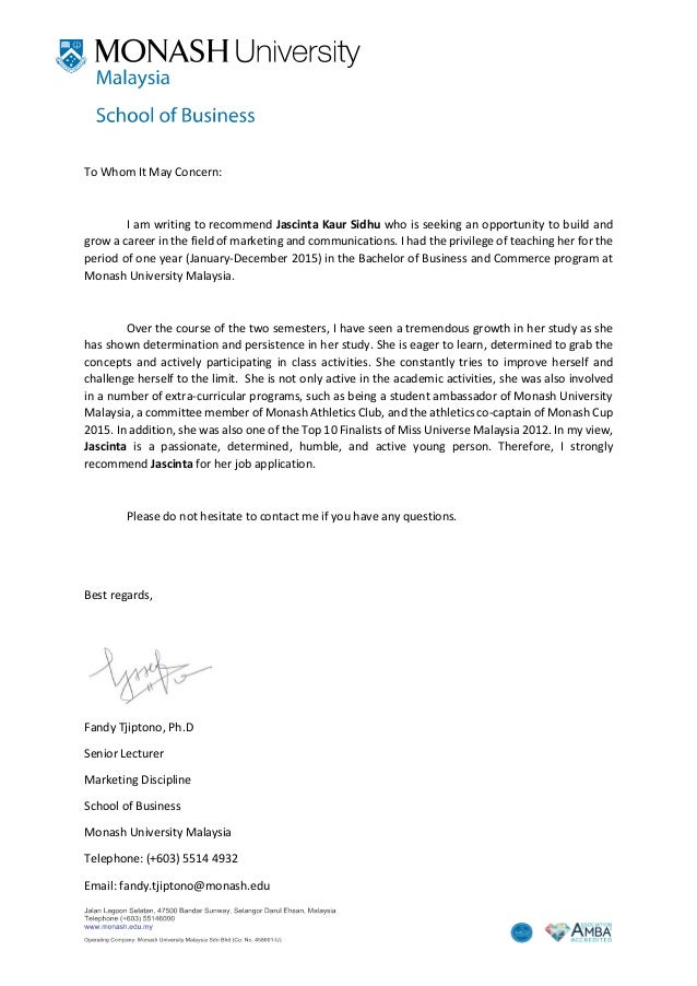 Recommendation Letter Monash University