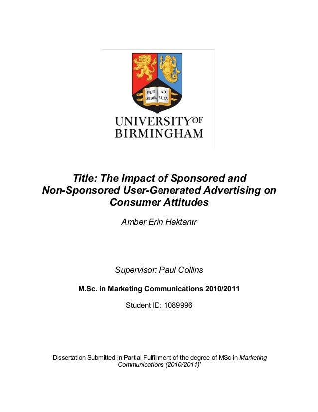dissertation guidelines university of birmingham