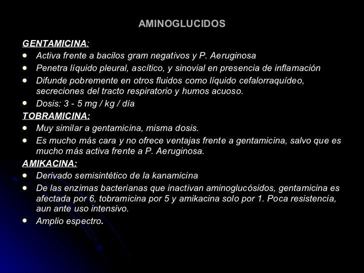 AMINOGLUCIDOS <ul><li>GENTAMICINA : </li></ul><ul><li>Activa frente a bacilos gram negativos y P. Aeruginosa  </li></ul><u...