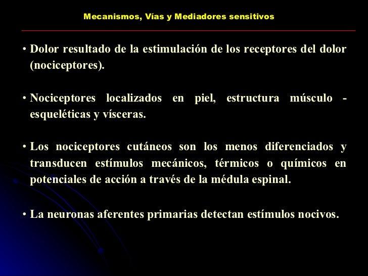 Mecanismos, Vías y Mediadores sensitivos <ul><li>Dolor resultado de la estimulación de los receptores del dolor (nocicepto...