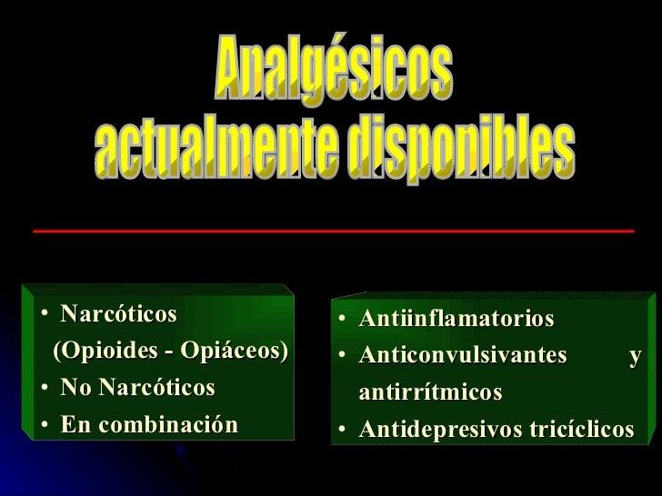 Analgésicos  actualmente disponibles <ul><li>Narcóticos </li></ul><ul><li>(Opioides - Opiáceos) </li></ul><ul><li>No Narcó...