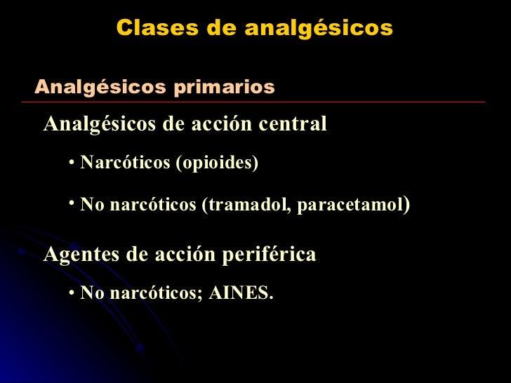 Clases de analgésicos <ul><li>Analgésicos de acción central </li></ul><ul><ul><li>Narcóticos (opioides) </li></ul></ul><ul...