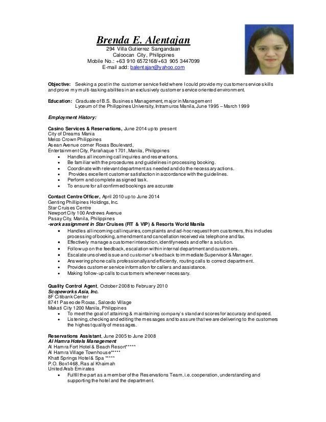 Brenda E. Alentajan 294 Villa Gutierrez Sangandaan Caloocan City, Philippines Mobile No.: +63 910 6572168/+63 905 3447099 ...