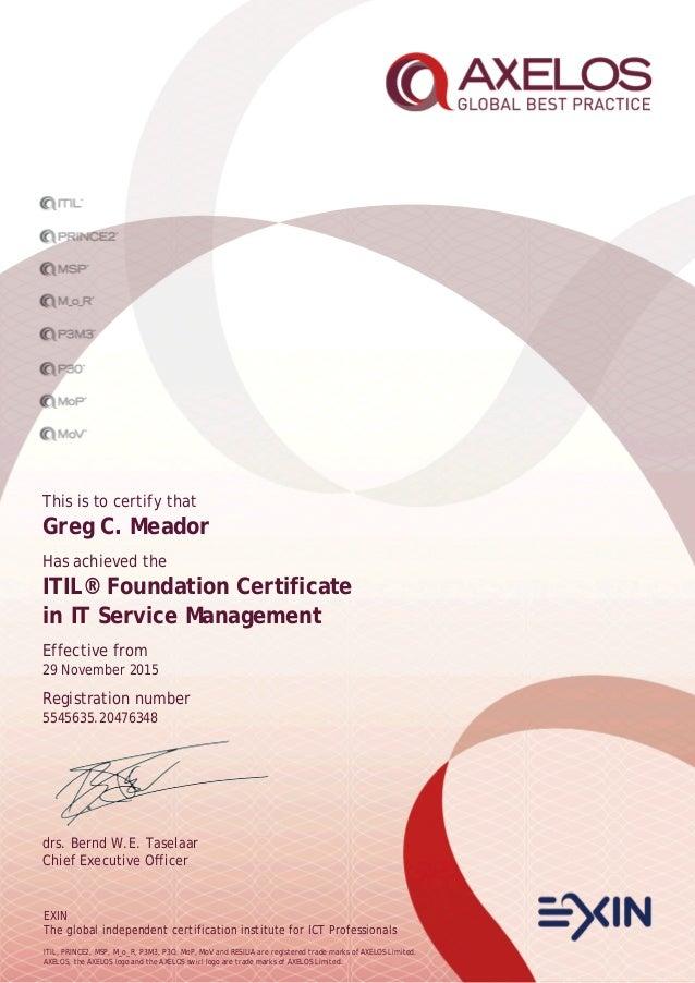 Greg Meador Itil Foundation Certificate Axelospdf