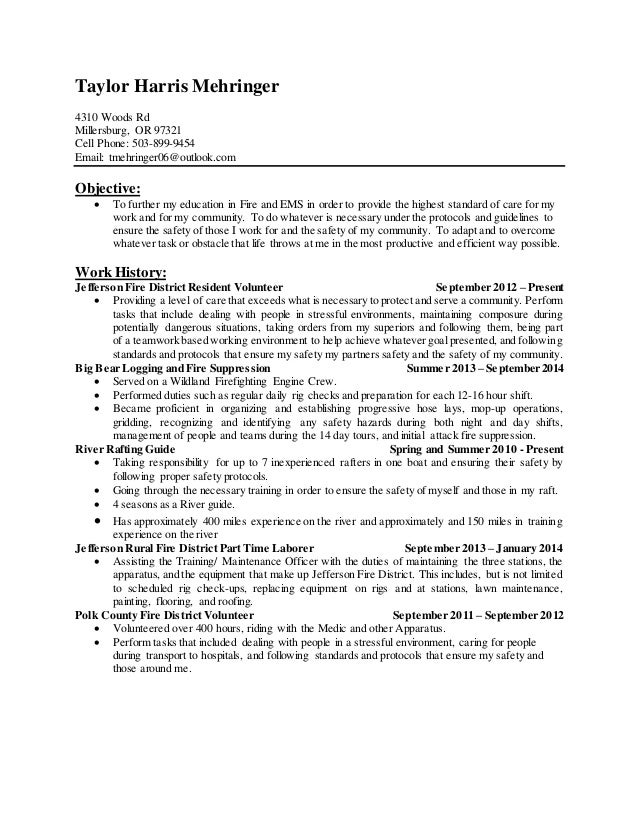 Firefighter Resume Updated March