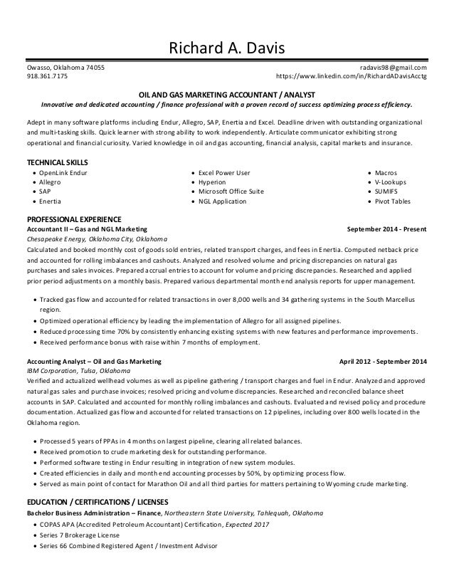 resume oil gas marketing accountant
