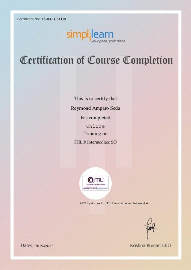 Itil Intermediate Training In It Service Operation No Pdu