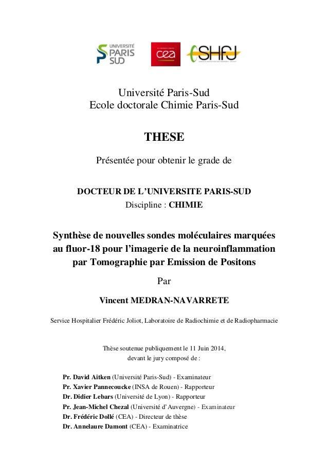 Université Paris-Sud Ecole doctorale Chimie Paris-Sud THESE Présentée pour obtenir le grade de DOCTEUR DE L'UNIVERSITE PAR...