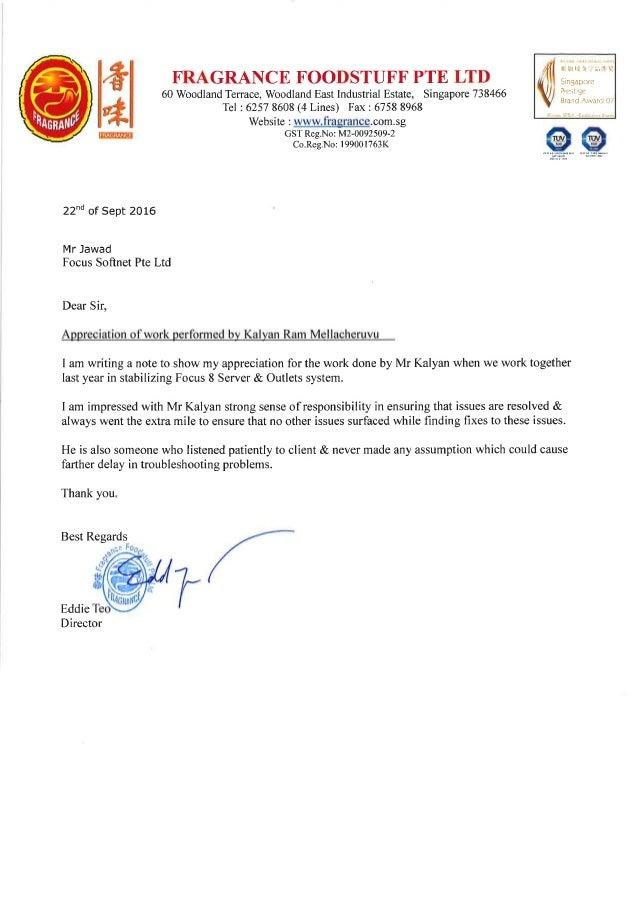 Letter of Appreciation for Kalyan
