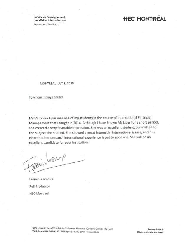 lettre de recommandation veronika lipar