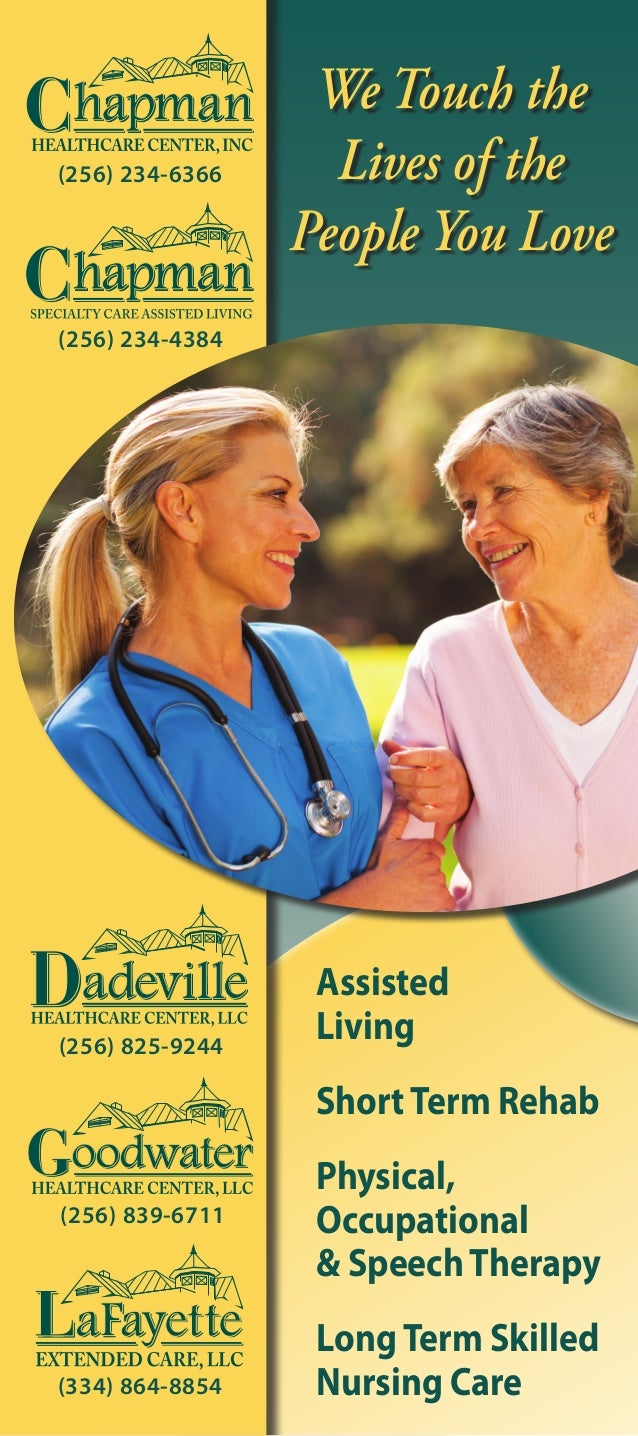 Assisted Living ShortTerm Rehab Physical, Occupational & SpeechTherapy LongTerm Skilled Nursing Care(334) 864-8854 (256) 8...