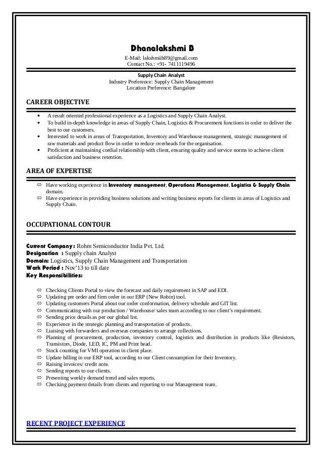 dhanalakshmi resume