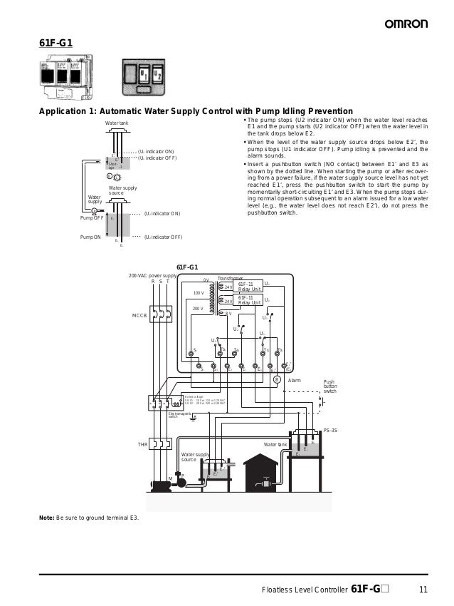 Floatless Level Controller 61F-G@ 11 61F-G1 Application 1: Automatic Water Supply Control with Pump Idling Prevention • Th...