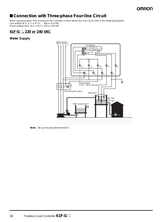 16 Floatless Level Controller 61F-G@ ■ Connection with Three-phase Four-line Circuit When supplying power from N-phase to ...