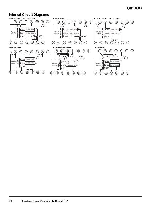 28 Floatless Level Controller 61F-G@P Internal Circuit Diagrams 61F-G1P/-G1PL/-G1PD 61F-G2P/-G2PL/-G2PD61F-G1PH 61F-G2PH 6...