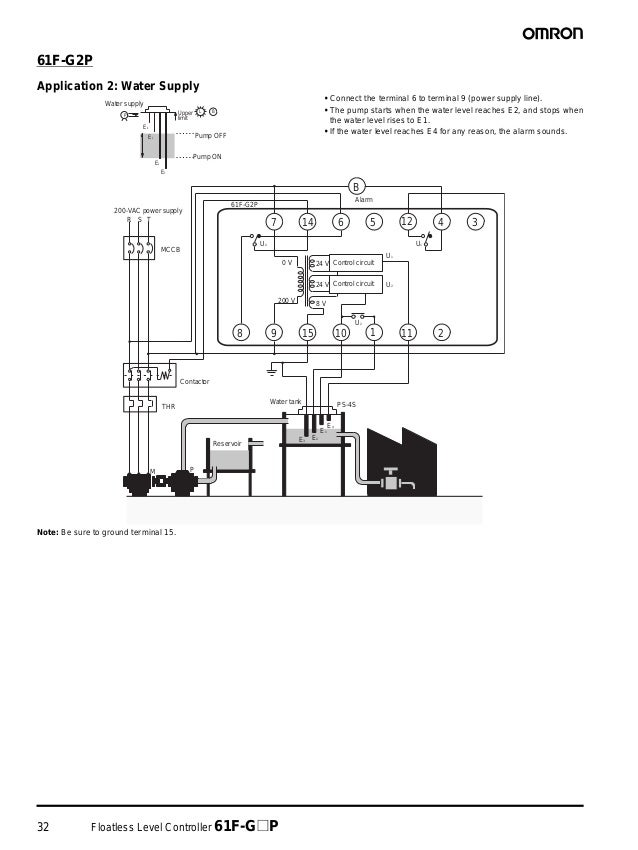 32 Floatless Level Controller 61F-G@P 61F-G2P Application 2: Water Supply • Connect the terminal 6 to terminal 9 (power su...