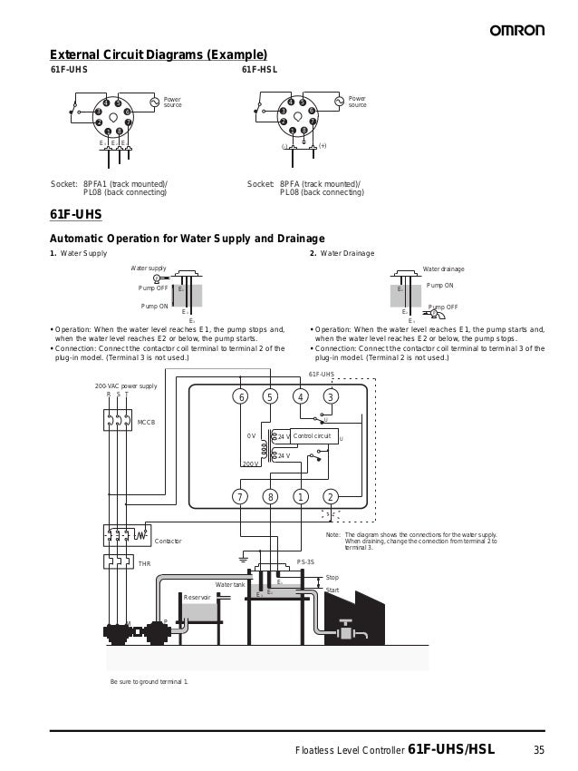 Floatless Level Controller 61F-UHS/HSL 35 External Circuit Diagrams (Example) 61F-UHS Automatic Operation for Water Supply...