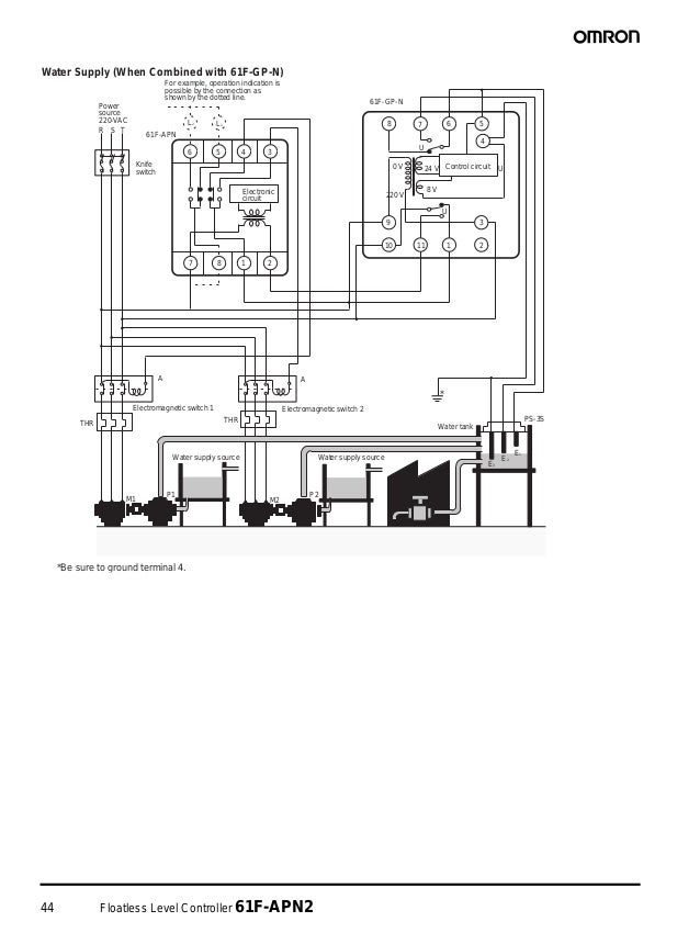 44 Floatless Level Controller 61F-APN2 Water Supply (When Combined with 61F-GP-N) *Be sure to ground terminal 4. P1 E2 E3 ...