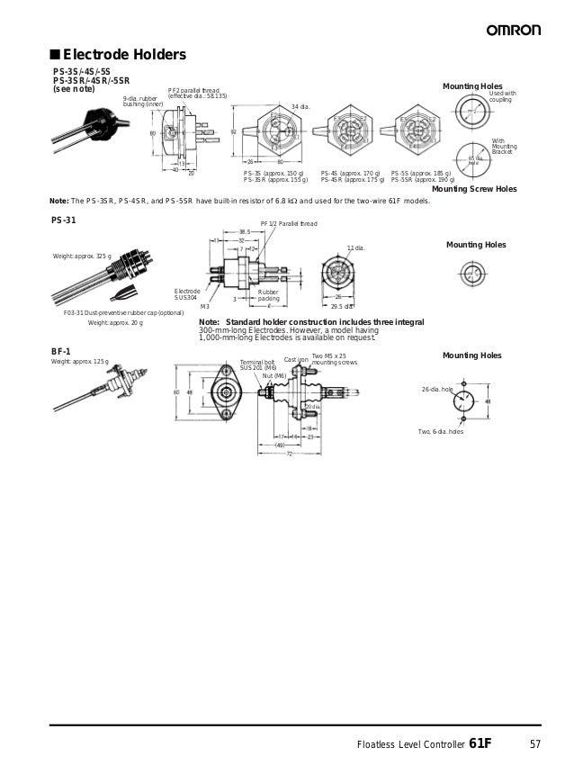 Floatless Level Controller 61F 57 ■ Electrode Holders Note: The PS-3SR, PS-4SR, and PS-5SR have built-in resistor of 6.8 k...