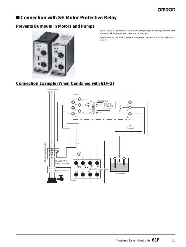 Floatless Level Controller 61F 65 ■ Connection with SE Motor Protective Relay Prevents Burnouts in Motors and Pumps Static...