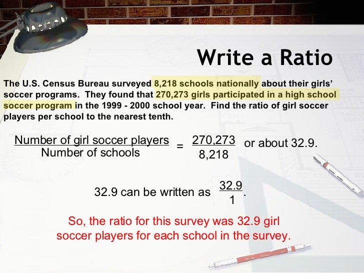 Write a Ratio The U.S. Census Bureau surveyed 8,218 schools nationally about their girls' soccer programs.  They found tha...