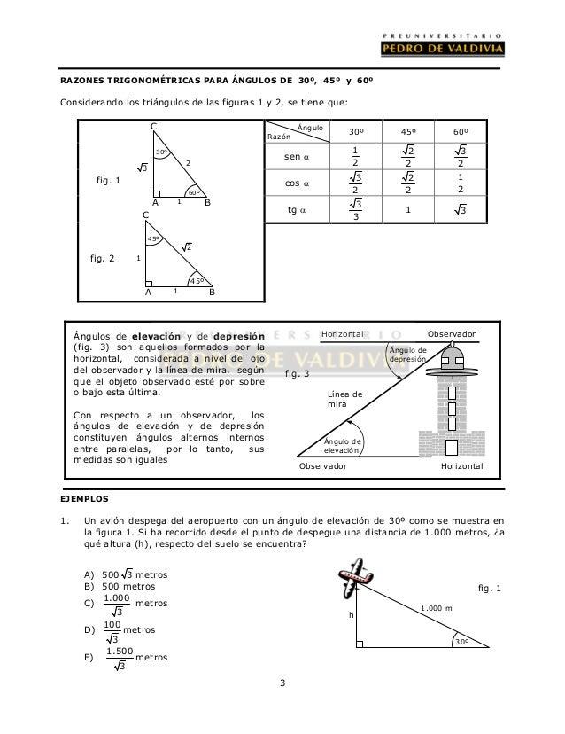 RAZONES TRIGONOMÉTRICAS PARA ÁNGULOS DE 30º, 45º y 60º  Considerando los triángulos de las figuras 1 y 2, se tiene que:  3...