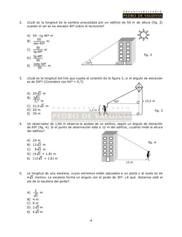 2. ¿Cuál es la longitud de la sombra proyectada por un edificio de 50 m de altura (fig. 2)  cuando el sol se ha elevado 40...