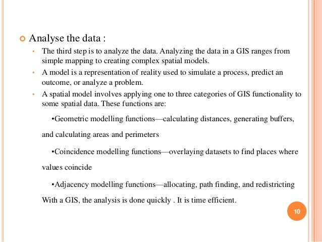   Analyse the data : •  The third step is to analyze the data. Analyzing the data in a GIS ranges from simple mapping to ...