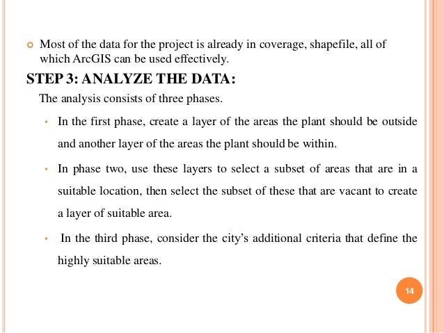   Most of the data for the project is already in coverage, shapefile, all of which ArcGIS can be used effectively.  STEP ...