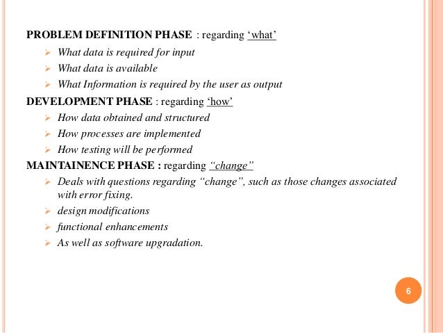 PROBLEM DEFINITION PHASE : regarding 'what'   What data is required for input  What data is available  What Information...