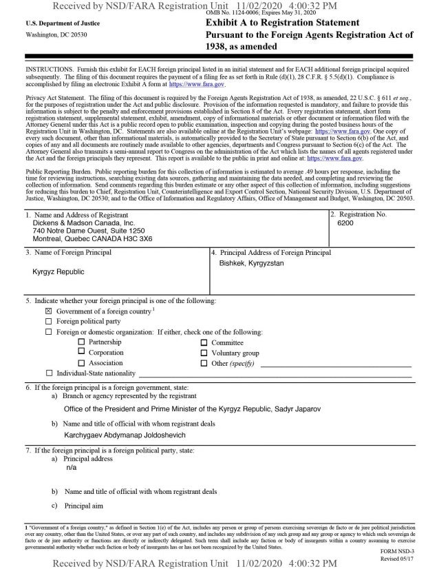 Received by NSD/FARA Registration Unit 11/02/2020 4:00:32 PM OMB No. 1124-0006; Expires May 31, 2020 U.S. Department of Ju...