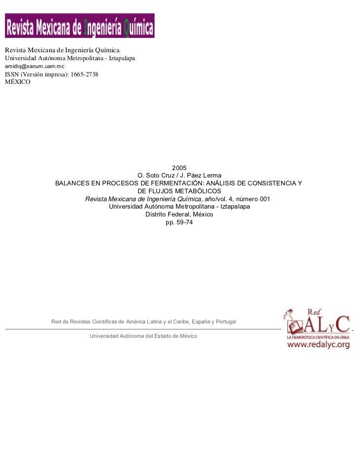Revista Mexicana de Ingeniería QuímicaUniversidad Autónoma Metropolitana - Iztapalapaamidiq@xanum.uam.mcISSN (Versión impr...
