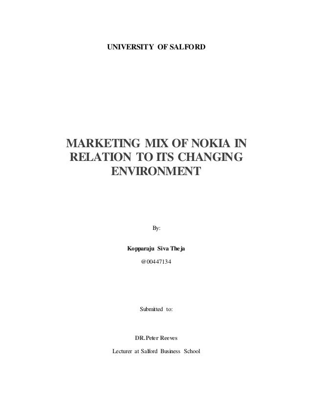 Nokia marketing mix Research paper Sample - 2853 words