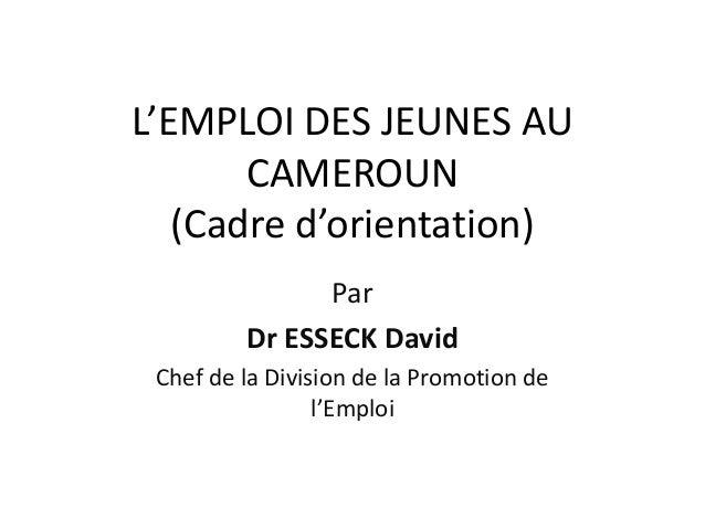 L'EMPLOI DES JEUNES AU       CAMEROUN   (Cadre d'orientation)               Par         Dr ESSECK David Chef de la Divisio...