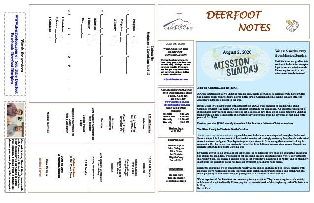 DEERFOOTDEERFOOTDEERFOOTDEERFOOT NOTESNOTESNOTESNOTES June 21, 2020 WELCOME TO THE DEERFOOT CONGREGATION We want to extend...