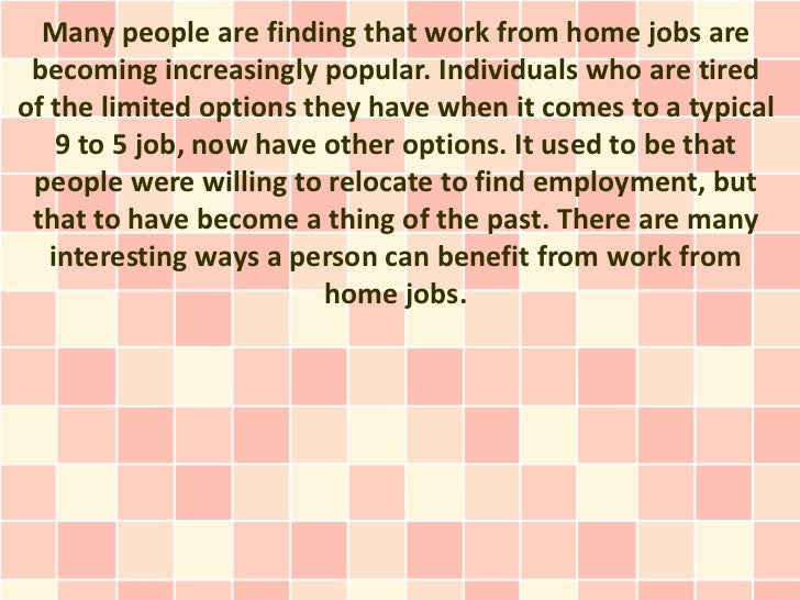 Proven Benefits Of Work From Home Jobs