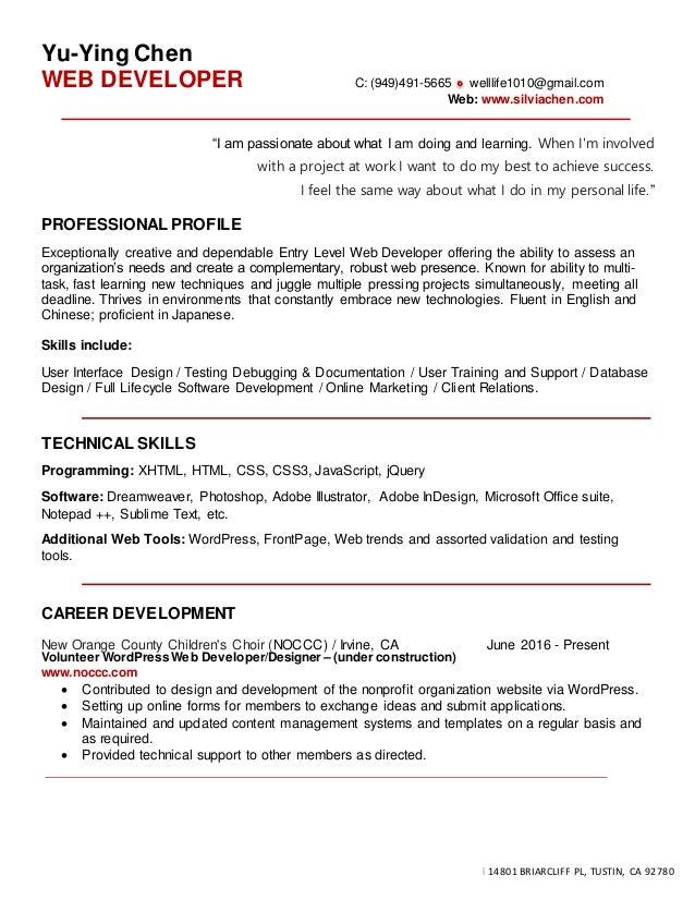 Resume Yu Ying Chen Web Developer