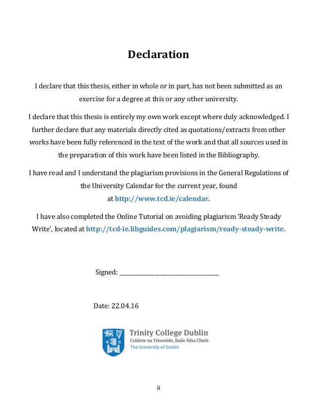 tcd thesis declaration