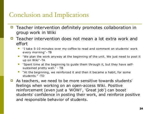 Collaborative Teaching Wikipedia ~ How teacher intervention affects primary student