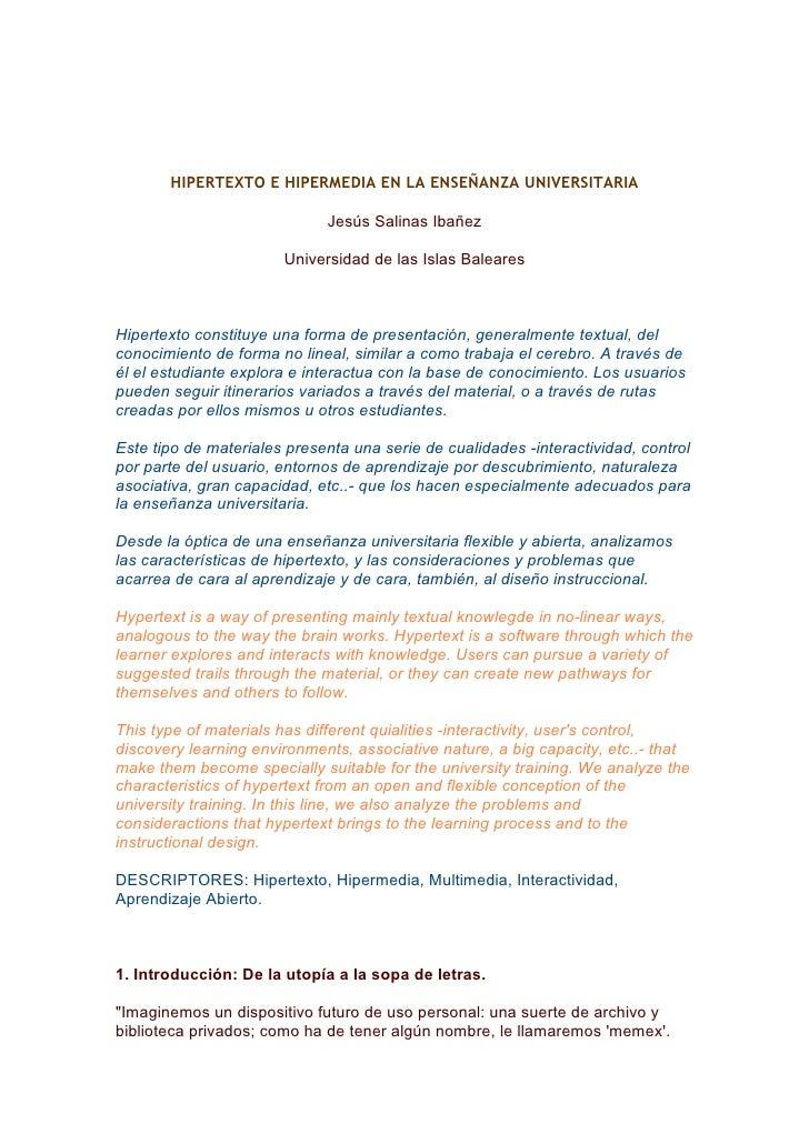 HIPERTEXTO E HIPERMEDIA EN LA ENSEÑANZA UNIVERSITARIA                             Jesús Salinas Ibañez                    ...