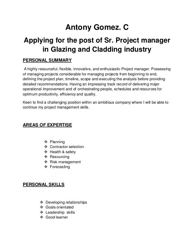 Project Manager Resume 1